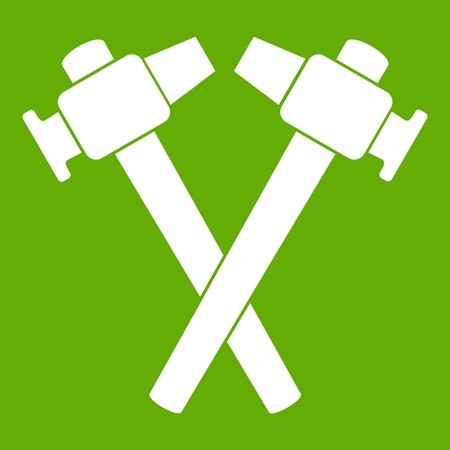 anvil: Crossed blacksmith hammer icon white isolated on green background. Vector illustration Illustration