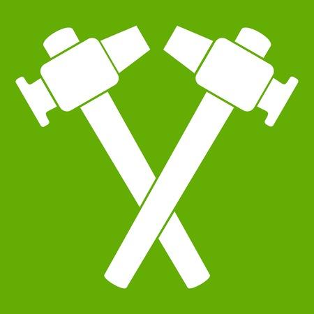 Crossed blacksmith hammer icon white isolated on green background. Vector illustration Illustration