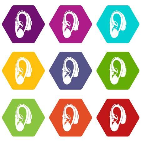 Icono de audífono conjunto hexaedro de muchos colores aislado en blanco ilustración vectorial