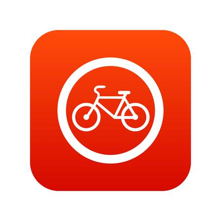 Travel by bicycle is prohibited traffic sign icon digital red for any design isolated on white vector illustration