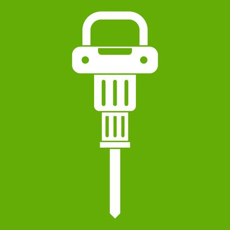 Pneumatic hammer icon white isolated on green background. Vector illustration Illustration