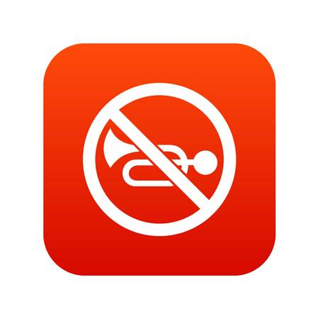 No horn traffic sign icon digital red for any design isolated on white vector illustration