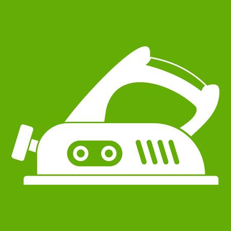 Jack plane icon white isolated on green background. Vector illustration
