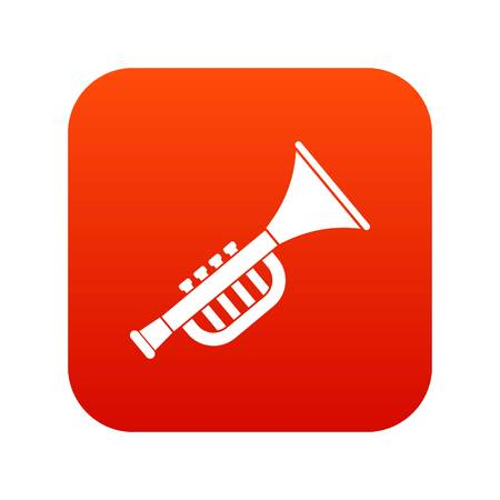 Trumpet toy icon digital red for any design isolated on white vector illustration