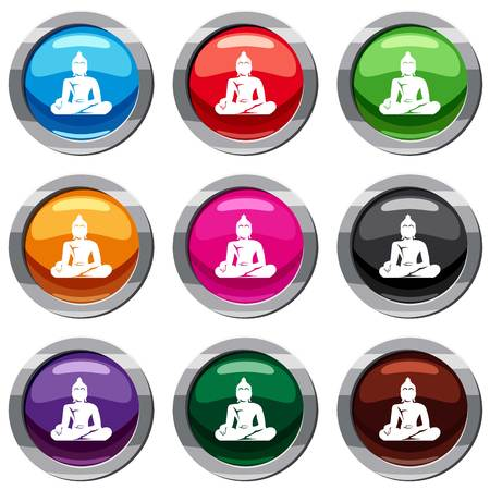 Statue of Buddha sitting in lotus pose set icon isolated on white. 9 icon collection vector illustration Illustration