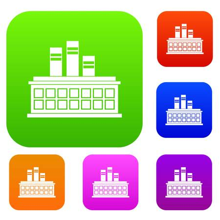 Oil refinery plant set icon in different colors isolated vector illustration. Premium collection