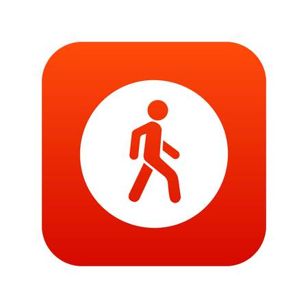 Pedestrians only road sign icon digital red for any design isolated on white vector illustration Illustration