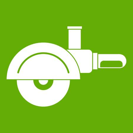 High speed cut off machine icon white isolated on green background. Vector illustration