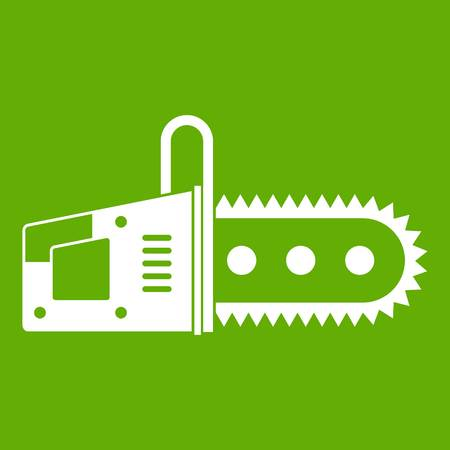 Chainsaw icon white isolated on green background. Vector illustration Illustration