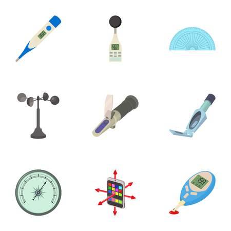 Technology instrument icons set, cartoon style