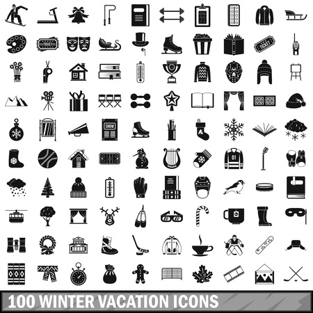 100 winter vacation icons set, simple style