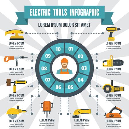Infographik Banner-Konzept der elektrischen Werkzeuge. Flache Darstellung von Elektrowerkzeugen Infografik Vektor Poster Konzept für das Web