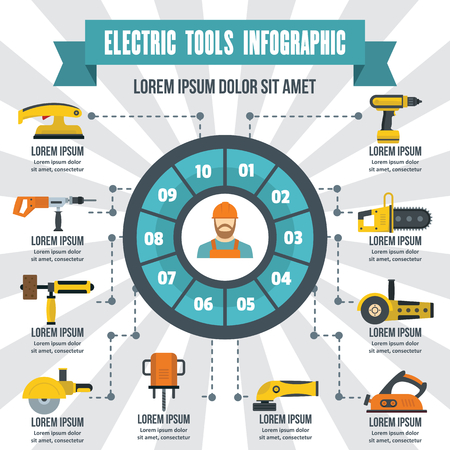 Electric tools infographic banner concept. Flat illustration of electric tools infographic vector poster concept for web
