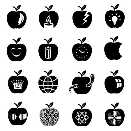 Simple illustration of 16 apple vector icons for web