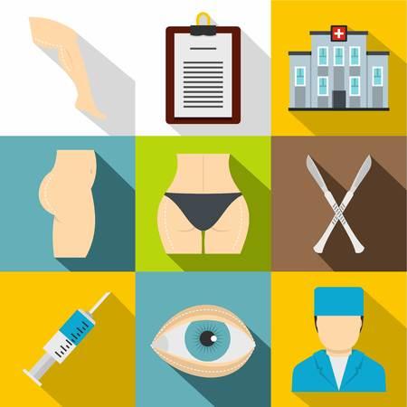 Cosmetic surgery icon set, flat style Illustration