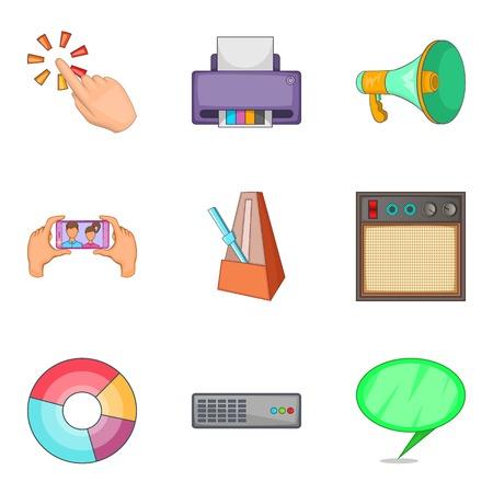 communication cartoon: Notification icons set. Cartoon set of 9 notification vector icons for web isolated on white background