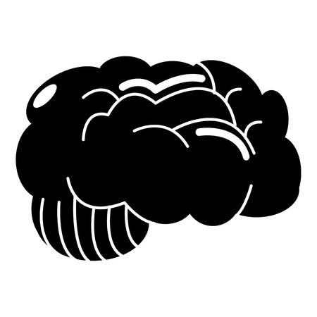 frontal view: Brain icon , simple style Illustration