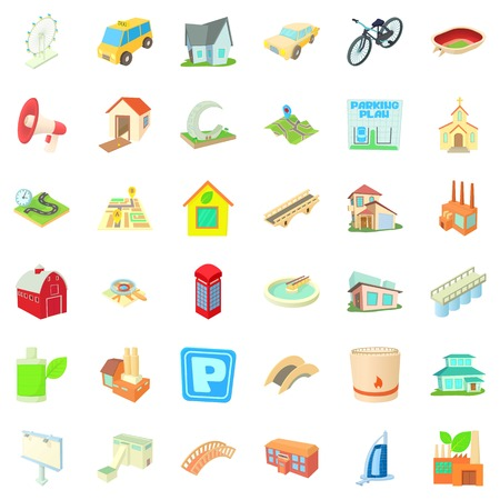 Downtown icons set, cartoon style