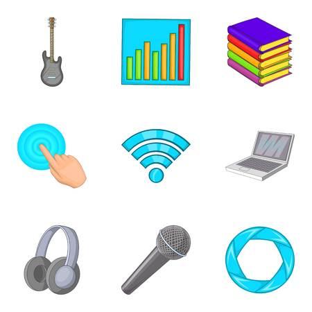 communication cartoon: Distribution of music icons set, cartoon style