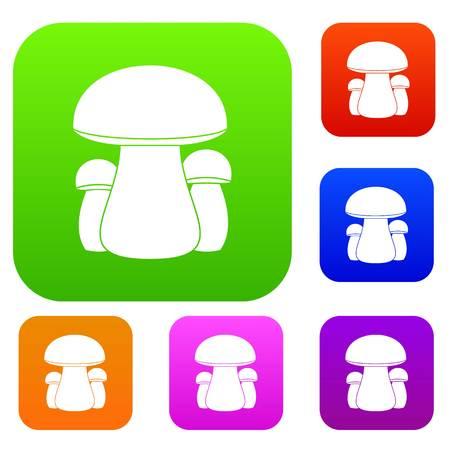 pareja comiendo: Mushroom set icon in different colors isolated vector illustration. Premium collection