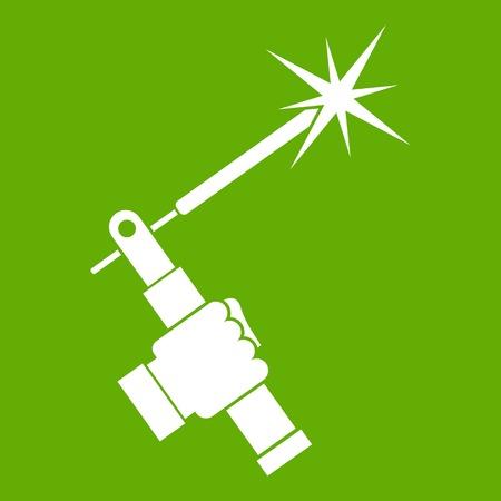 ミグ溶接トーチ手に白いアイコンが緑の背景に分離。ベクトル図  イラスト・ベクター素材