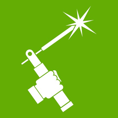 Mig welding torch in hand icon white isolated on green background. Vector illustration