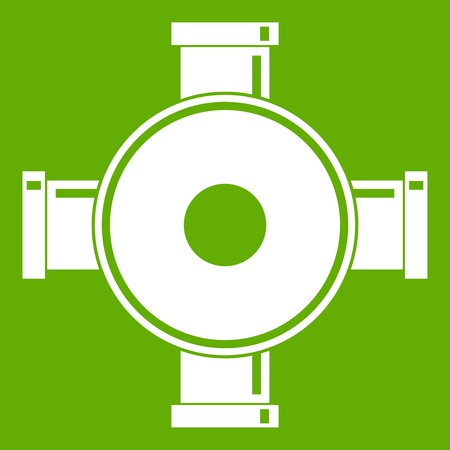 Pipe fitting icon white isolated on green background. Vector illustration Illustration