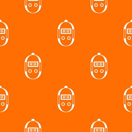 Stopwatch pattern repeat seamless in orange color for any design. Vector geometric illustration