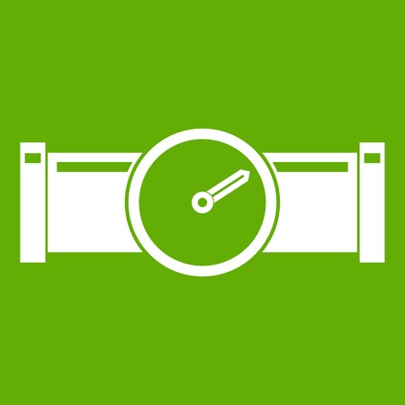 sewer: Instrument measures the pressure in the pipe icon white isolated on green background. Vector illustration Illustration
