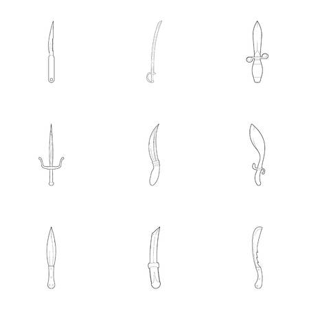warriors: Medieval weapons icons set. Outline set of 9 medieval weapons vector icons for web isolated on white background Illustration