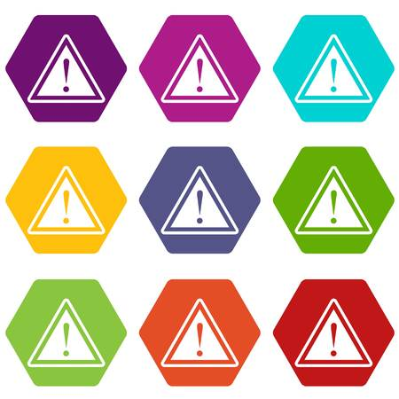 Hazard warning attention sign with exclamation mark icon set many color hexahedron isolated on white vector illustration