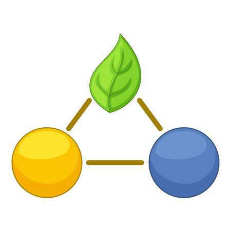 Groen bladeren molecule icoon. Cartoon illustratie van groene bladeren molecule vector pictogram voor web