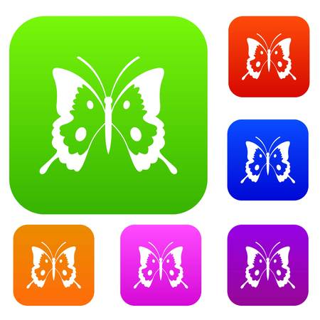 butterfly isolated: Butterfly set icon in different colors isolated vector illustration. Premium collection