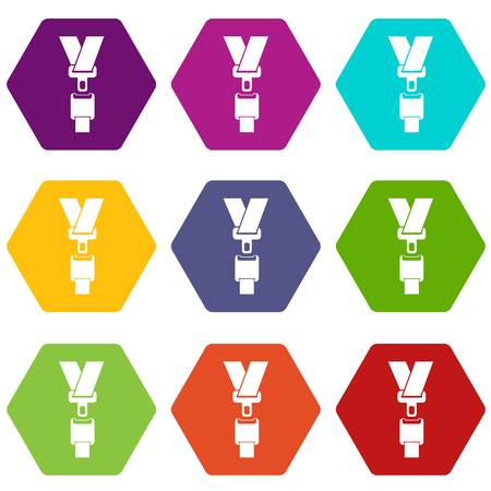 Safety belt icon set many color hexahedron isolated on white vector illustration Illustration