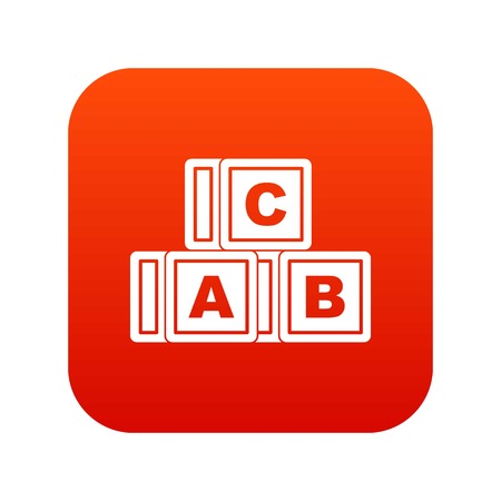 ABC cubes icon digital red for any design isolated on white vector illustration