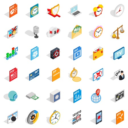 Multimedia icons set. Isometric style of 36 multimedia vector icons for web isolated on white background