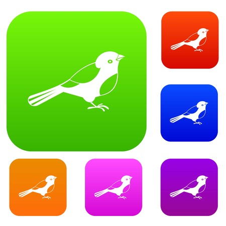 tweet icon: Bird set icon in different colors isolated vector illustration. Premium collection
