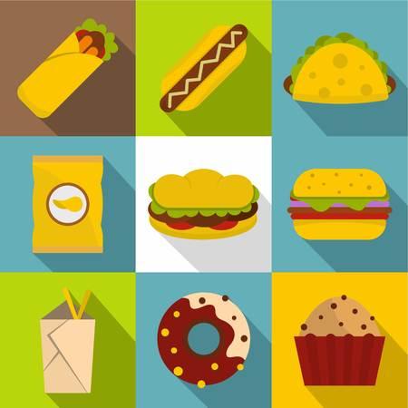 Snacks icon set. Flat style set of 9 snacks vector icons for web design Illustration
