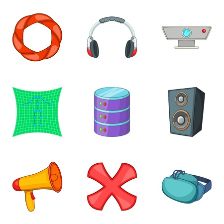 communication cartoon: Music application icons set. Cartoon set of 9 music application vector icons for web isolated on white background