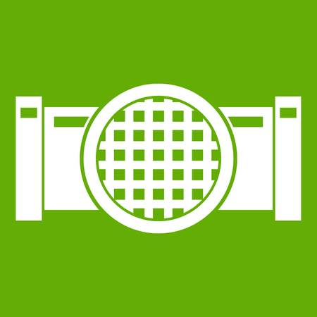 Drain pipe icon white isolated on green background. Vector illustration