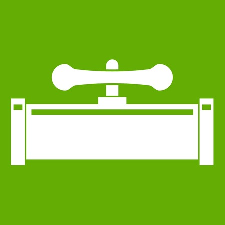Plumbing valve icon white isolated on green background. Vector illustration