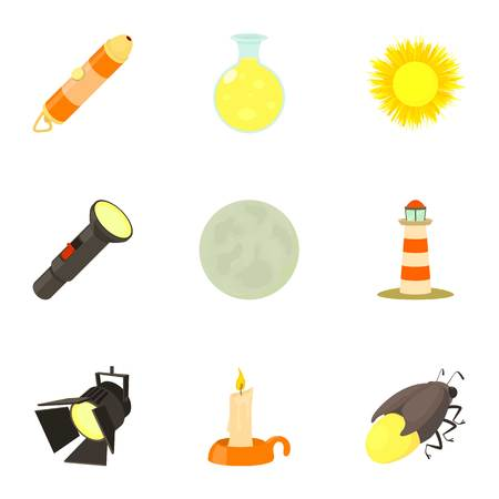 Light and lighting icons set. Cartoon set of 9 light and lighting vector icons for web isolated on white background Illustration