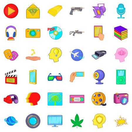 Game over icons set, cartoon style