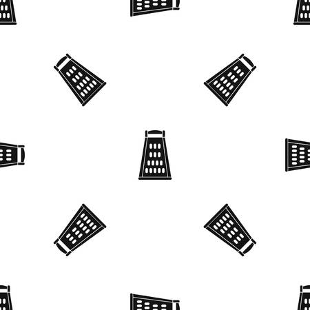 black metallic background: Kitchen grater pattern repeat seamless in black color for any design. Vector geometric illustration Illustration