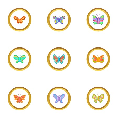 butterfly isolated: Different types of butterflies icons set. Cartoon set of 9 different types of butterflies vector icons for web isolated on white background