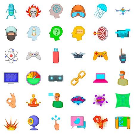 Technology icons set, cartoon style