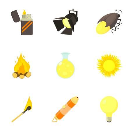 Lighting icons set, cartoon style