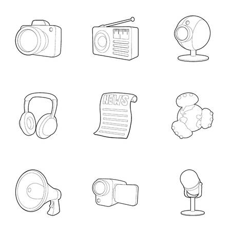 journalism: News icons set. Outline set of 9 news vector icons for web isolated on white background Illustration
