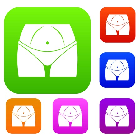Slim woman body in panties set icon in different colors isolated vector illustration. Premium collection
