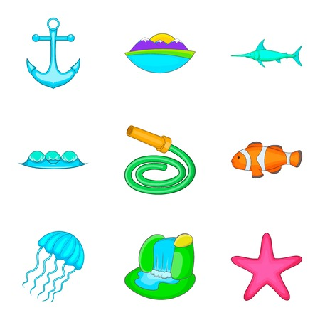 Ocean icons set. Cartoon set of 9 ocean vector icons for web isolated on white background